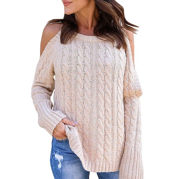 Womens Cold Shoulder Jumper Sweater V-Neck Lace Up Sleeve Casual Knitwear Tops