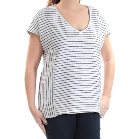 VINCE CAMUTO Womens Ivory Striped Short Sleeve V Neck Sweater Size L
