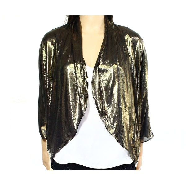 037e48e33cf19 Shop MSK NEW Gold Womens Size XL Metallic Open-Front Ruched-Back Shrug - Free  Shipping On Orders Over  45 - Overstock.com - 18288526