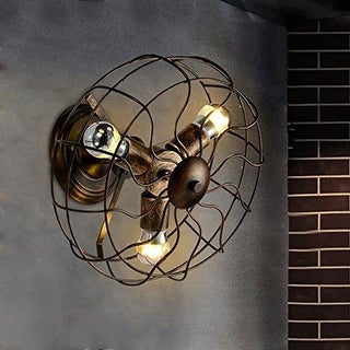 3 light vintage industrial fan wall sconce with copper finish