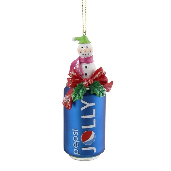 "4.75"" Blue Jolly Pepsi Can with Snowman Topper Decorative Glass Christmas Ornament"