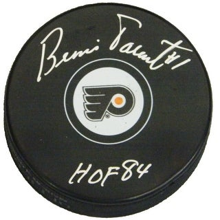 Bernie Parent Signed Philadelphia Flyers Logo Hockey Puck w/HOF'84