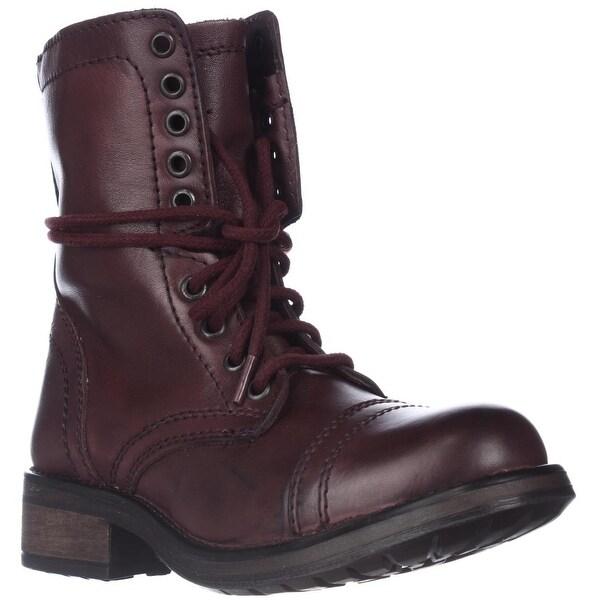 Steve Madden Tropa2 Combat Boots, Wine - 5.5 us