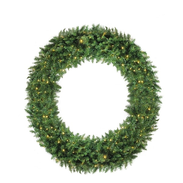 5' Pre-Lit Buffalo Fir Commercial Artificial Christmas Wreath - Warm White LED Lights - green