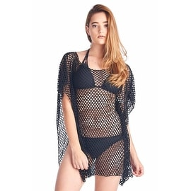 Women's Juniors Slip Short Sleeve Beach Dress Cover-Up Pareo Swimwear Bikini