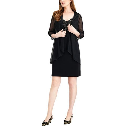 MSK Women Womens Plus Cocktail Dress Metallic Embroidered