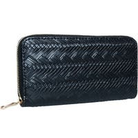 Mad Style Black Herringbone Zipper Wallet