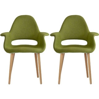 2xhome - Set of 2, Green Modern Organic Chairs With Arm Armchairs Solid Wood Natural Legs Dining Chairs Living Room Restaurant