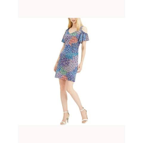 MSK Womens Blue Printed Short Sleeve Short Shift Dress Size PL
