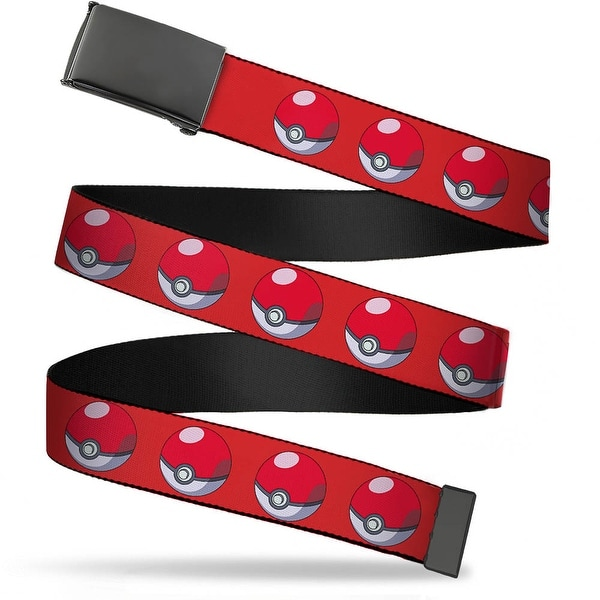 Blank Black Buckle Poke Ball Repeat Red Webbing Web Belt