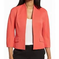 Classiques Entier Red Coral Women 8 Career Crepe Open-Front Jacket