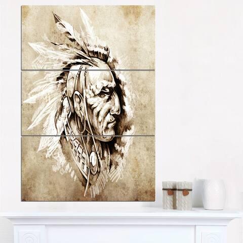 Designart 'American Indian' Portrait Canvas Print - 28x36 - 3 Panels