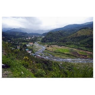 """Scenic view of Caldera River, valley and town of Boquete, Panama"" Poster Print"