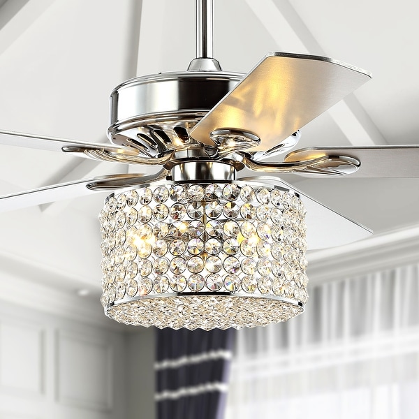 """Brandy 52"""" 3-Light Crystal LED Ceiling Fan With Remote, by JONATHAN Y. Opens flyout."""