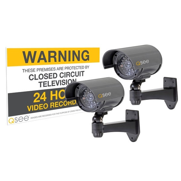 Q-See 2 Pack Decoy Security Cameras with Warning Sign