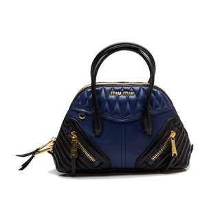 MIU MIU Women's Biker Nappa Quilted Leather Bauletto Purse Handbag Blue - S
