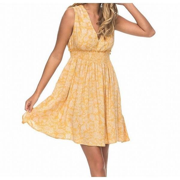 f649f2d211 Roxy Yellow Amber Women's Size Large L Tropical A-Line Dress