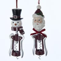 "Pack of 12 Santa Claus and Snowman Wine Corkscrew Opener Christmas Ornaments 5.75"" - silver"
