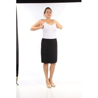 Womens Black Above The Knee Pencil Cocktail Skirt Petites Size 12