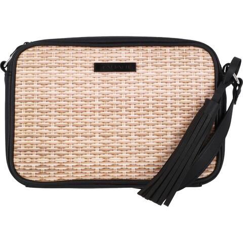 Tahari Newport Women's Woven Tasseled Adjustable Crossbody Handbag - Natural - Small