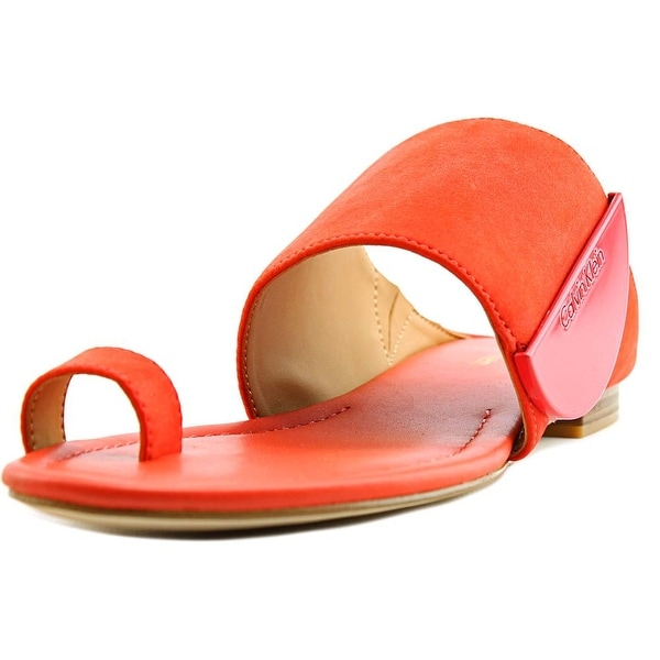 Calvin Klein Babel   Open Toe Leather  Slides Sandal