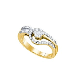 1/2Ct Diamond Flower Bridal Engagement Ring 10K Yellow-Gold