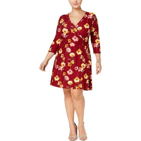Derek Heart Womens Plus Mini Dress Floral Print Faux Wrap
