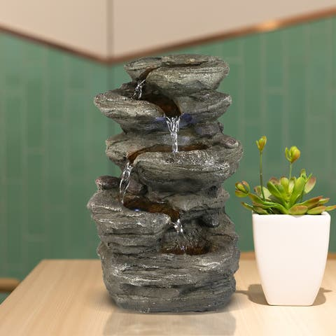 Staggered Rock Cascading Fountain Tabletop Water Fountain w/LED Lights