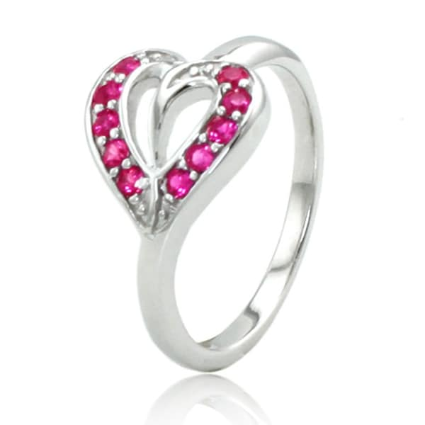 Sterling Silver Heart Leaf Ring w/ Light Ruby Color Cubic Zirconia