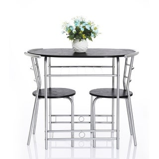 vecelo  piece kitchen dining table set for  with stack chairswood top metal finishblack silver: black kitchen dining sets