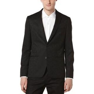 PERRY ELLIS Slim Fit Black Textured Two Button Sportcoat 42 Regular 42R Blazer