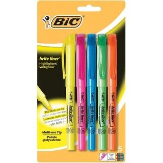 BIC Brite Liner Highlighter, Chisel Tip, Assorted Colors, Set of 5