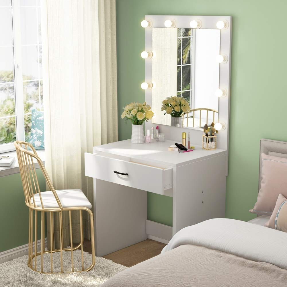 low priced 07c55 58ee0 Makeup Vanity with Lighted Mirror, Dressing Table, Dresser Desk for Bedroom  (Stool not included)