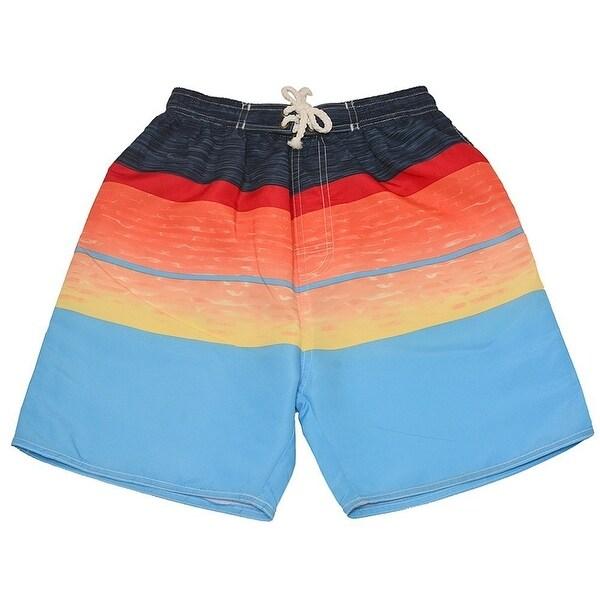 Quad Seven Little Boys Blue Red Orange Wavy Pattern Swimwear Trunks