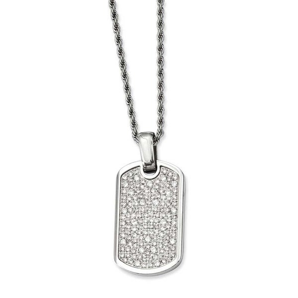 Stainless Steel Fancy CZ Dogtag Pendant 24in Necklace (2 mm) - 24 in