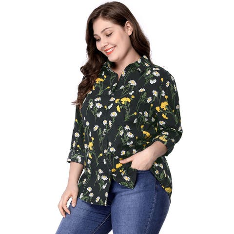 Women's Plus Size Long Sleeve Button Down Floral Print Shirt - Black