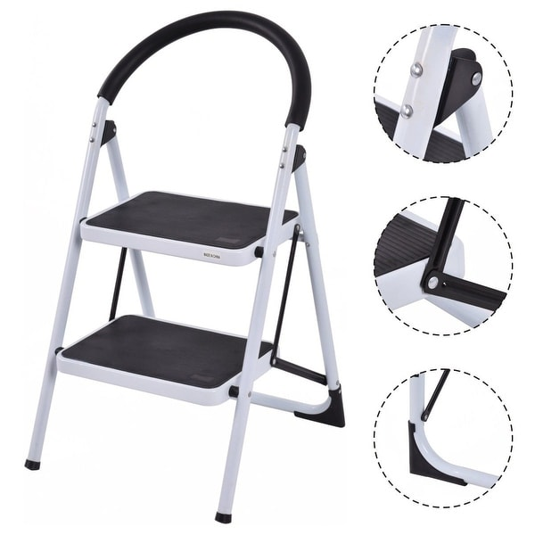 Costway 2 Step Ladder Folding Stool Heavy Duty 330Lbs Capacity Industrial Lightweight - Black & White