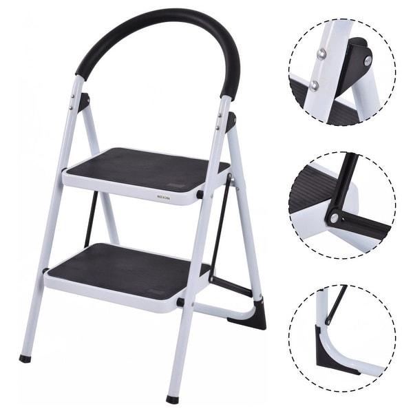 Costway 2 Step Ladder Folding Stool Heavy Duty 330Lbs Capacity Industrial Lightweight