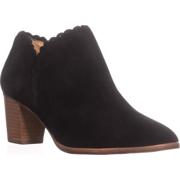 Jack Rogers Marianne Scalloped Low Rise Booties, Black