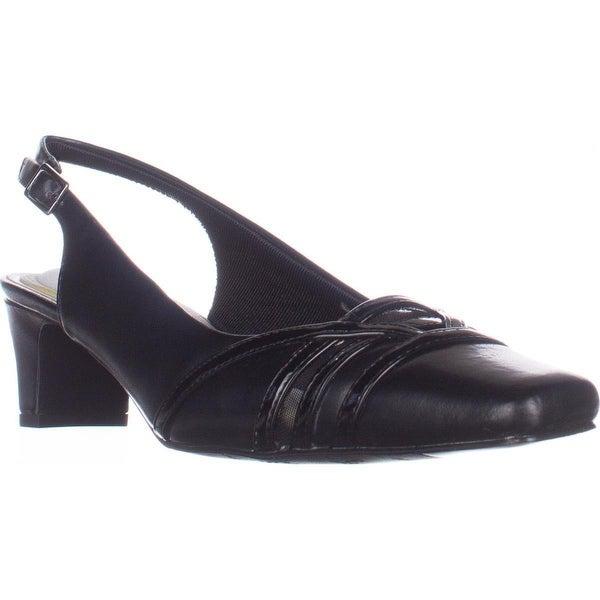 Easy Street Kristen Slingback Kitten Heels, Black/Patent
