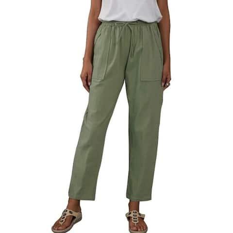 Elastic Waist Cotton Linen Pants With Pockets