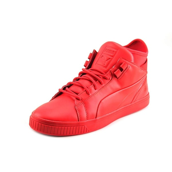 Puma Play Prm Men Round Toe Leather Red Sneakers