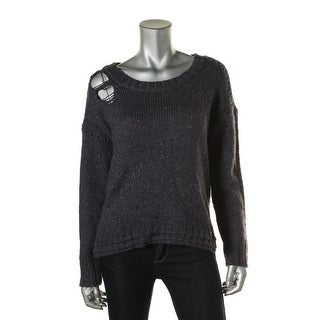 Wildfox Couture Womens Distressed Marled Pullover Sweater