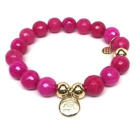 Fuchsia Quartz Om Charm stretch bracelet 14k over Sterling Silver