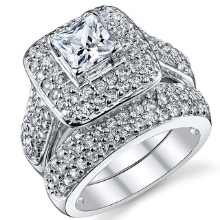 Oliveti Sterling Silver Princess Cut Engagement Ring Bridal Set with Cubic Zirconia