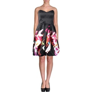 Parker Womens Printed Strapless Cocktail Dress