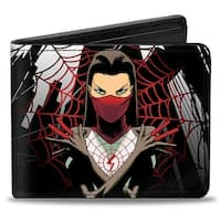 Marvel Universe Silk Poses Spider Web Skyline Grays Black Red Bi Fold Wallet - One Size Fits most
