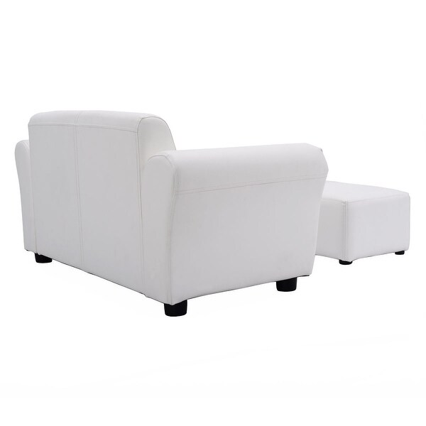 Costway White Kids Sofa Armrest Chair Couch Lounge Children Birthday Gift w/ Ottoman - Free Shipping Today - Overstock.com - 22217266  sc 1 st  Overstock : children chaise lounge - Sectionals, Sofas & Couches