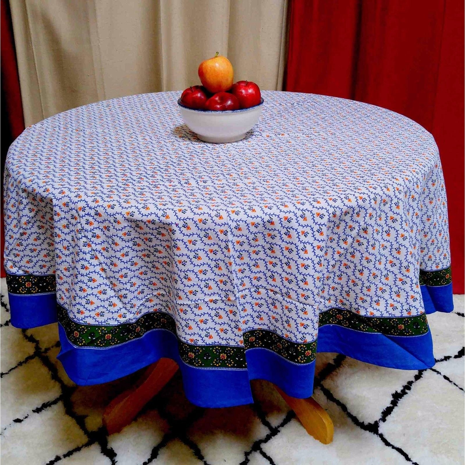 Cotton Floral Vine Round Tablecloth Square Table Linens Napkins Placemats - Thumbnail 9