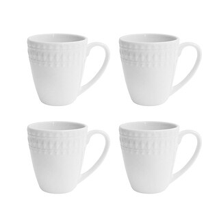 Elle Décor Amelie White Coffee Mugs, Set of 4